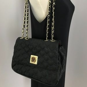 Betsey Johnson Black Quilted Hearts Gold Chain